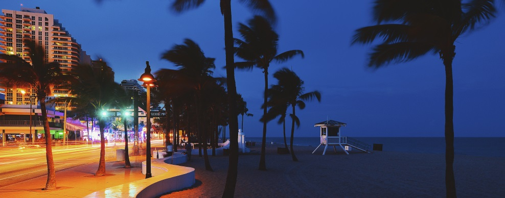 Fort Lauderdale Beach blvd. at night