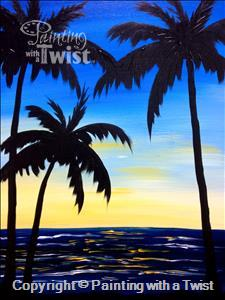 palms at dusk painting with a twist